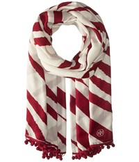 Tory Burch Animal Stripe Oblong New Ivory Port Scarves White