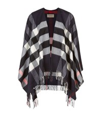Burberry Shoes And Accessories House Check Wool Cashmere Cape Female Navy