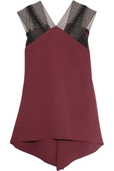 Roland Mouret Dave Lace Trimmed Draped Crepe Top Burgundy