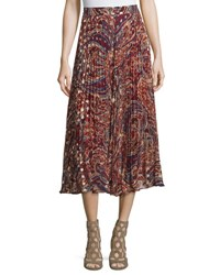 Haute Hippie Silk Sunburst Flare Midi Skirt Kennedy Metallic