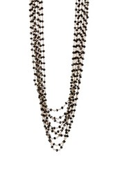 Candela 18K Yellow Gold Plated Sterling Silver Black Spinel Multi Strand Necklace