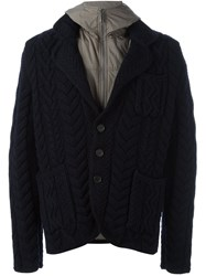 Canali Layered Cable Knit Jacket Blue