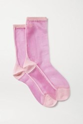 Maria La Rosa Golf Two Tone Tulle Socks Pink