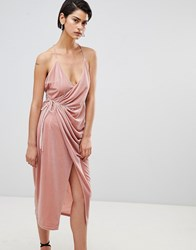 Forever Unique Velvet Wrap Dress Light Pink