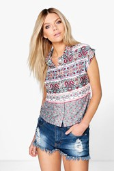 Boohoo Printed Button Crop Shirt Multi