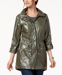 Styleandco. Style Co Shiny Roll Tab Sleeve Anorak Created For Macy's Irredescent Olive