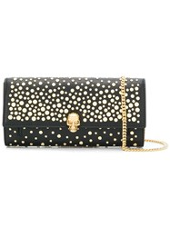Alexander Mcqueen Studded Skull Wallet With Chain Black
