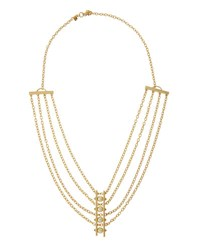 Rebecca Minkoff 12K Gold Plated Multi Strand Pearly Bar Necklace No Color