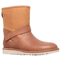 Ugg Anali Leather Flat Short Calf Boots Chestnut