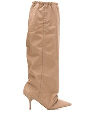 Yeezy Elasticated Knee Length Boots Brown