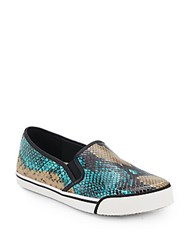 Alice Olivia Piper Embossed Leather Sneakers Turquoise Multi