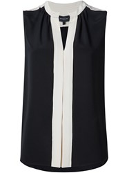 Derek Lam Pleated Placket Sleeveless Blouse Black