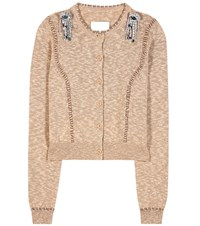 Maison Martin Margiela Embellished Cotton Cardigan Brown