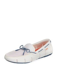 Swims Mesh And Rubber Braided Lace Boat Shoe White