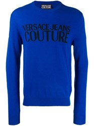 Versace Jeans Couture Logo Knitted Sweatshirt Blue