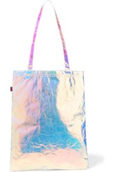 Sies Marjan Farah Iridescent Crinkled Cotton Canvas Tote Silver
