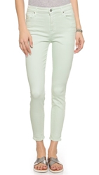 7 For All Mankind High Waisted Ankle Skinny Jeans Light Mint