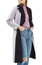 Topshop Women's Colorblock Wool Blend Coat