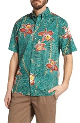 Reyn Spooner Okika Oasis Traditional Fit Sport Shirt Emerald