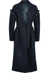 Mother Of Pearl Webb Faux Embellished Wool Blend Coat Navy