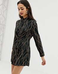 Bershka Print Twist Front Dress In Black