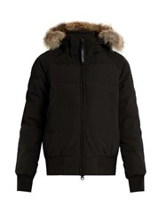 Canada Goose Savona Fur Trimmed Down Padded Bomber Jacket Black