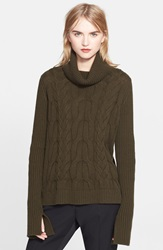 Alexander Mcqueen Cable Knit Turtleneck Sweater Green