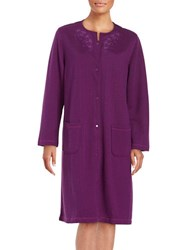 Miss Elaine Floral Embroidered Quilted Duster Robe Plum