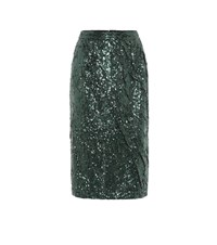 N 21 Sequined Pencil Skirt Green