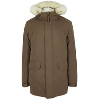 River Island Mens Brown Faux Fur Trim Hooded Parka
