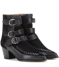 Isabel Marant Dickey Suede And Leather Ankle Boots Black