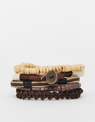 Asos Leather And Cord Bracelet Pack In Neutral Neutral Beige