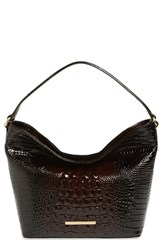 Brahmin 'Small Harrison' Croc Embossed Leather Hobo Brown Cocoa