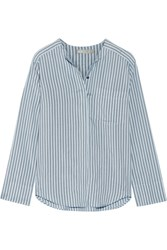 Vince Striped Silk Shirt Blue