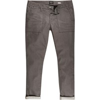 River Island Mens Brown Turn Up Sid Skinny Stretch Jeans