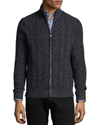 Neiman Marcus Marled Cable Knit Cashmere Zip Cardigan Black
