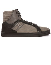 Hogan Rebel Grey And Black 141 Nubuck And Leather High Top Sneakers
