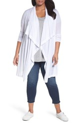 Three Dots Plus Size Women's Drape Front Sheer Cardigan White