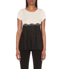 Claudie Pierlot Contrast Jersey And Lace Top Ecru