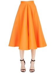 Maison Rabih Kayrouz Flared Techno And Silk Satin Midi Skirt