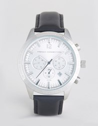 French Connection Watch With Silver Multi Functional Dial Black