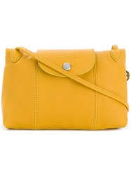 Longchamp Foldover Top Shoulder Bag Yellow And Orange