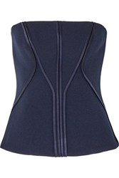 Dion Lee Satin Trimmed Stretch Crepe Bustier Top Navy