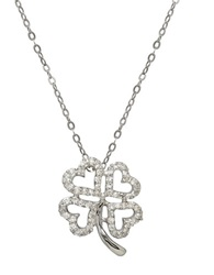 Lord And Taylor 14K White Gold And Diamond Clover Pendant Necklace Diamond White Gold