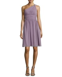 Donna Morgan One Shoulder Ruched Cocktail Dress Grey Ridge