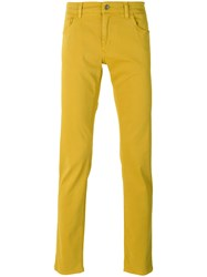 Dolce And Gabbana Slim Fit Trousers Men Cotton Spandex Elastane 44 Yellow Orange