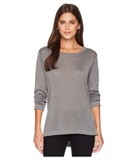 Nally And Millie Long Sleeve High Low Tunic With Side Slits Steel Blouse Silver