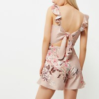 River Island Womens Pink Floral Frill Cami Playsuit