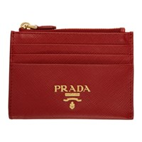 Prada Red Saffiano Zip Card Holder