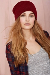 Nasty Gal Hot Headed Beanie Burgundy